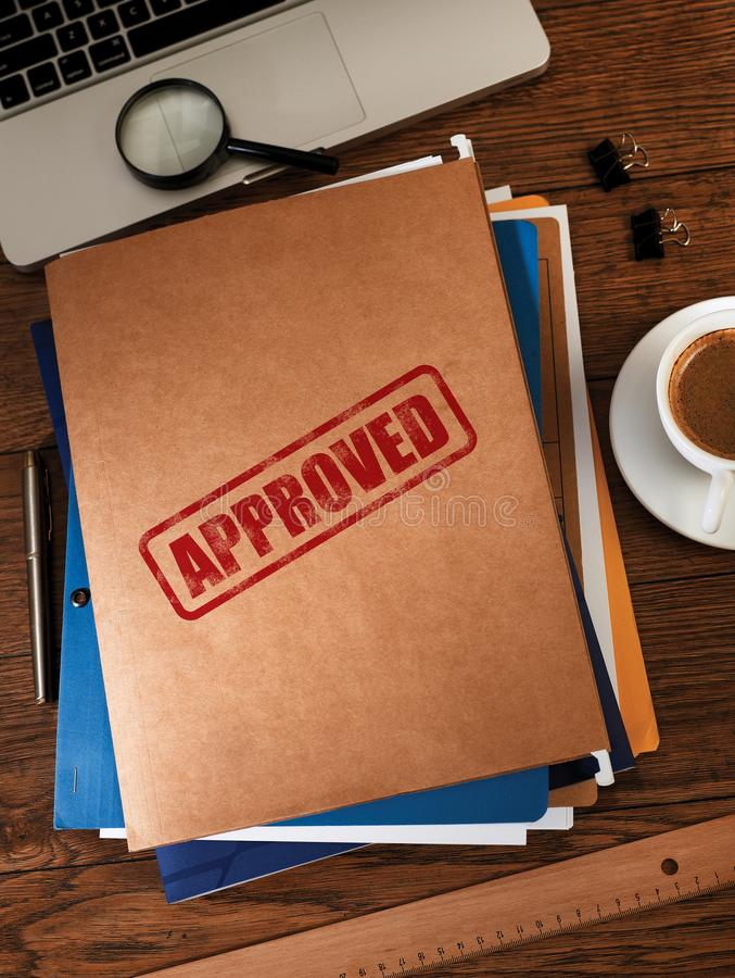 Approved folders from above royalty free stock photography