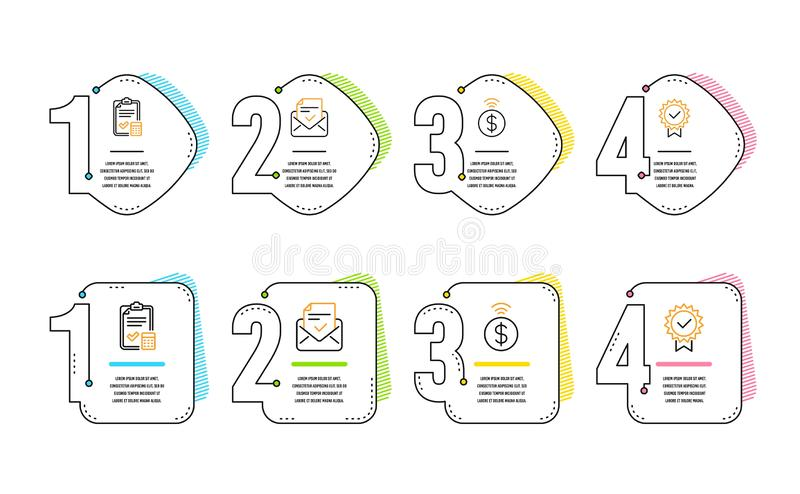 Approved mail, Accounting checklist and Contactless payment icons set. Certificate sign. Vector. Approved mail, Accounting checklist and Contactless payment royalty free illustration