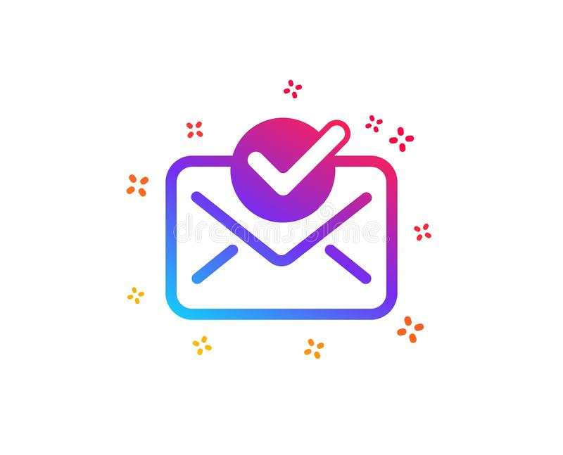 Approved mail icon. Accepted or confirmed sign. Vector. Approved mail icon. Accepted or confirmed sign. Document symbol. Dynamic shapes. Gradient design approved stock illustration