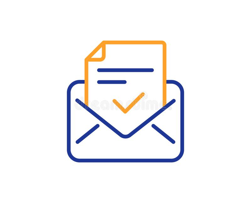 Approved mail line icon. Accepted or confirmed sign. Vector. Approved mail line icon. Accepted or confirmed sign. Document symbol. Colorful outline concept. Blue vector illustration
