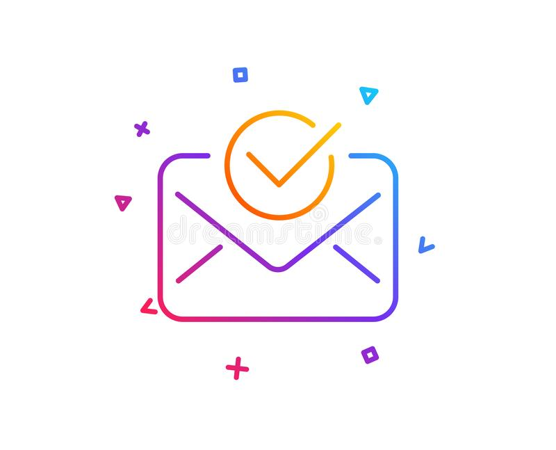 Approved mail line icon. Accepted or confirmed sign. Vector. Approved mail line icon. Accepted or confirmed sign. Document symbol. Gradient line button. Approved royalty free illustration