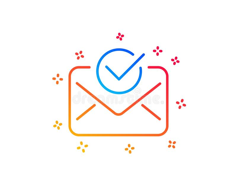 Approved mail line icon. Accepted or confirmed sign. Vector. Approved mail line icon. Accepted or confirmed sign. Document symbol. Gradient design elements vector illustration