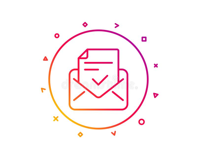 Approved mail line icon. Accepted or confirmed sign. Vector. Approved mail line icon. Accepted or confirmed sign. Document symbol. Gradient pattern line button royalty free illustration