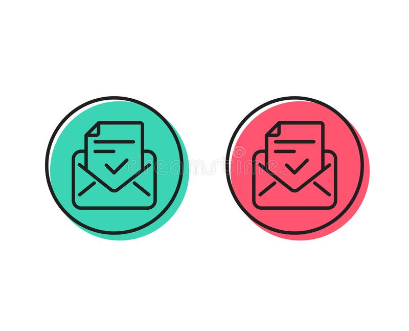 Approved mail line icon. Accepted or confirmed sign. Vector. Approved mail line icon. Accepted or confirmed sign. Document symbol. Positive and negative circle royalty free illustration