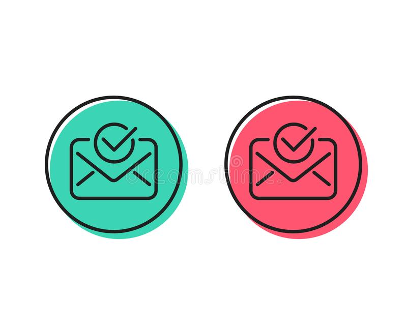 Approved mail line icon. Accepted or confirmed sign. Vector. Approved mail line icon. Accepted or confirmed sign. Document symbol. Positive and negative circle vector illustration