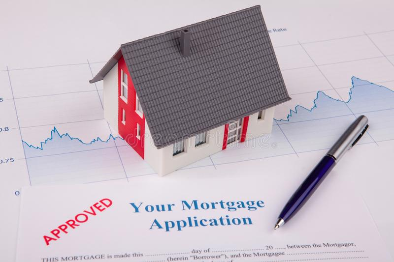 Approved Mortgage Application. And Pen Working stock photo