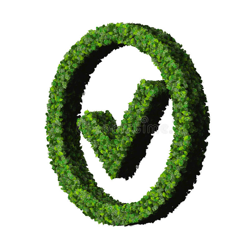 Approved, ok, like, eco sign made from green leaves isolated on white background. 3D render. stock illustration