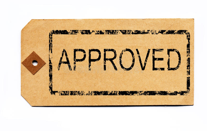 Approved parcel tag royalty free stock photo