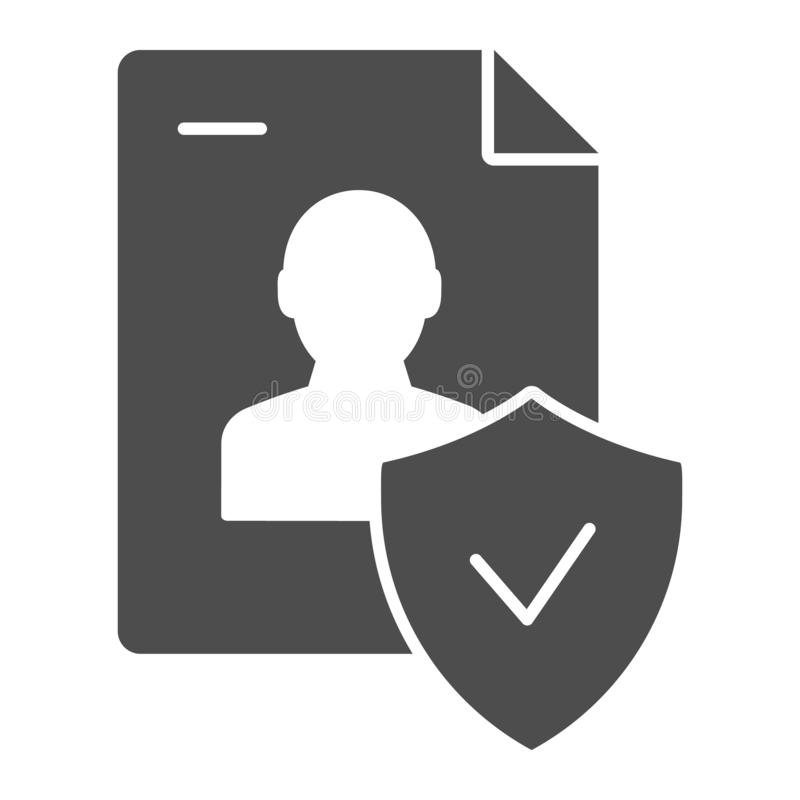 Approved personal document solid icon. Checked identity vector illustration isolated on white. Paper glyph style design. Designed for web and app. Eps 10 vector illustration