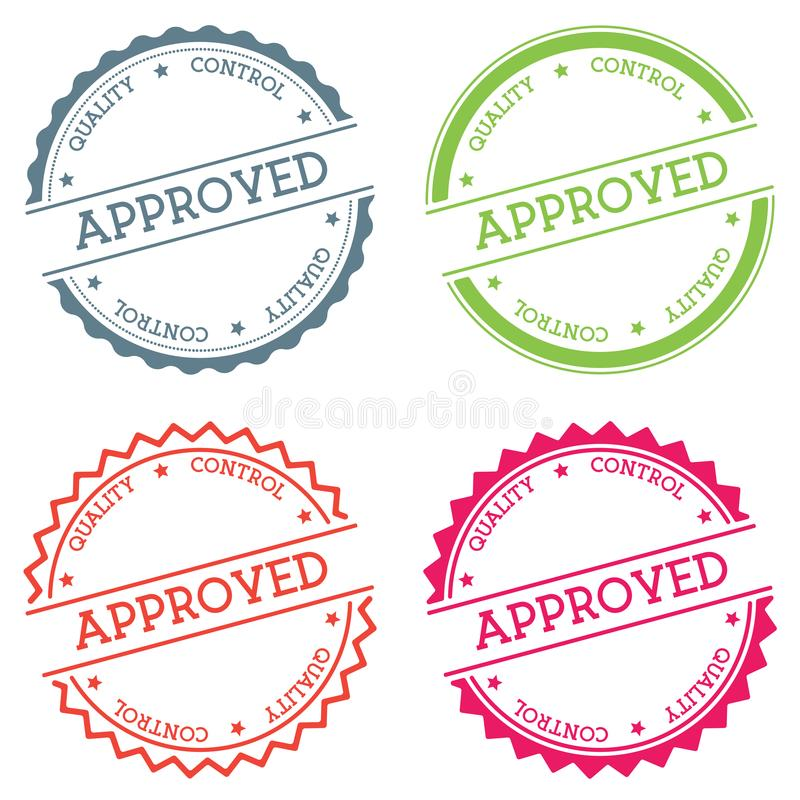 Approved Quality Control badge isolated on white. stock illustration