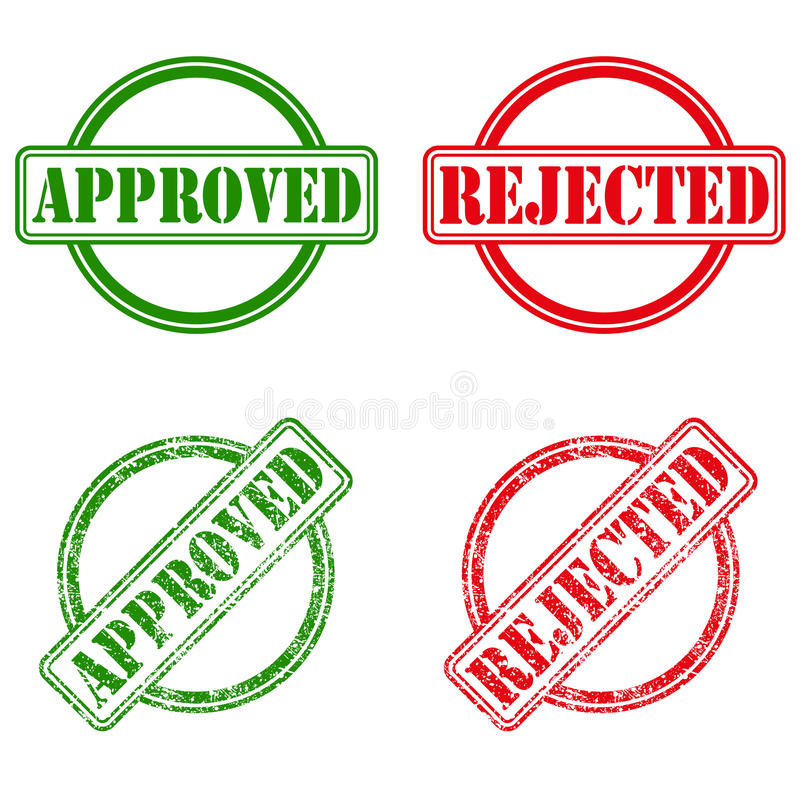Approved and rejected ink stamps vector illustration
