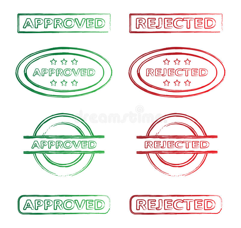 Approved and rejected stamp stock illustration