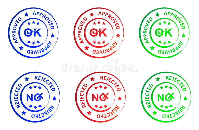 Approved and rejected stamp royalty free illustration