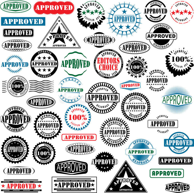 Approved rubber stamps collection stock illustration