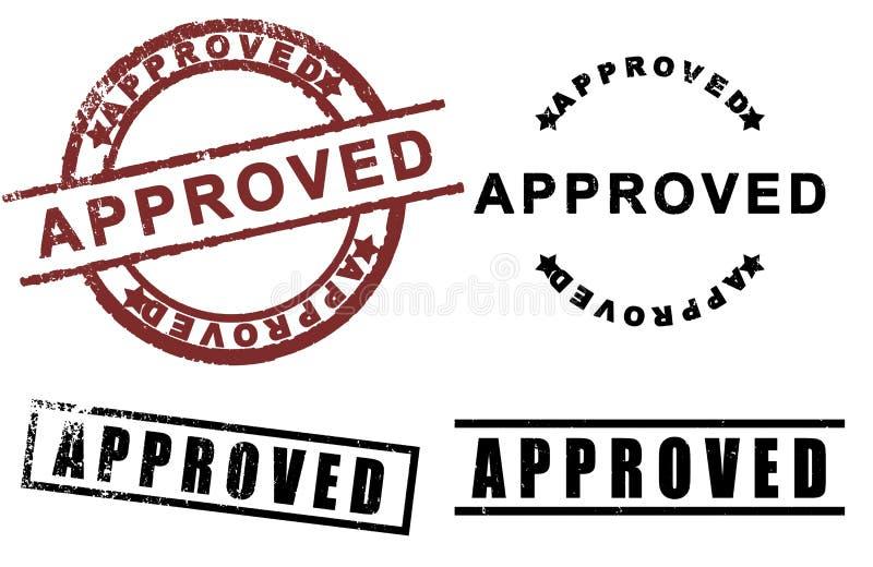 Approved sign rubber stamp set stock illustration