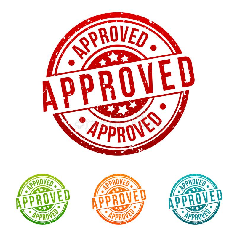 Approved Stamp - Badges in different colours. Eps10 Vector Button vector illustration