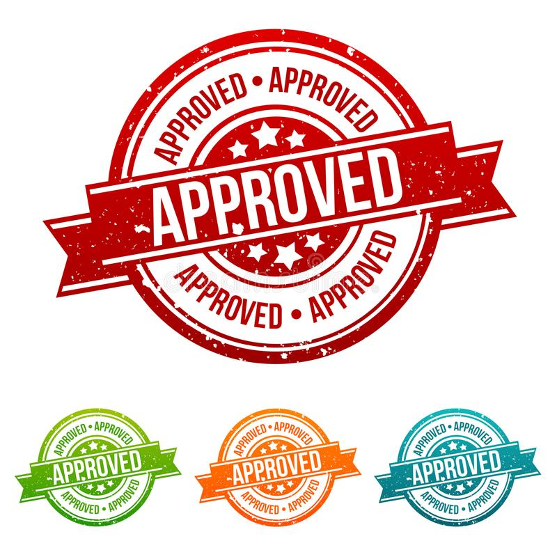 Approved Stamp - Badges in different colours. Eps10 Vector vector illustration