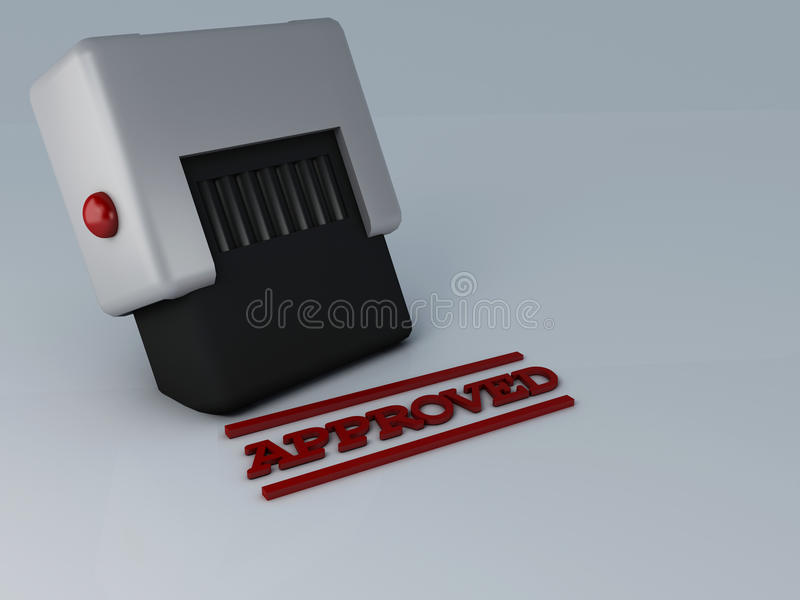 Approved stamp. 3d rendering of a stamp with approved in red ink royalty free illustration