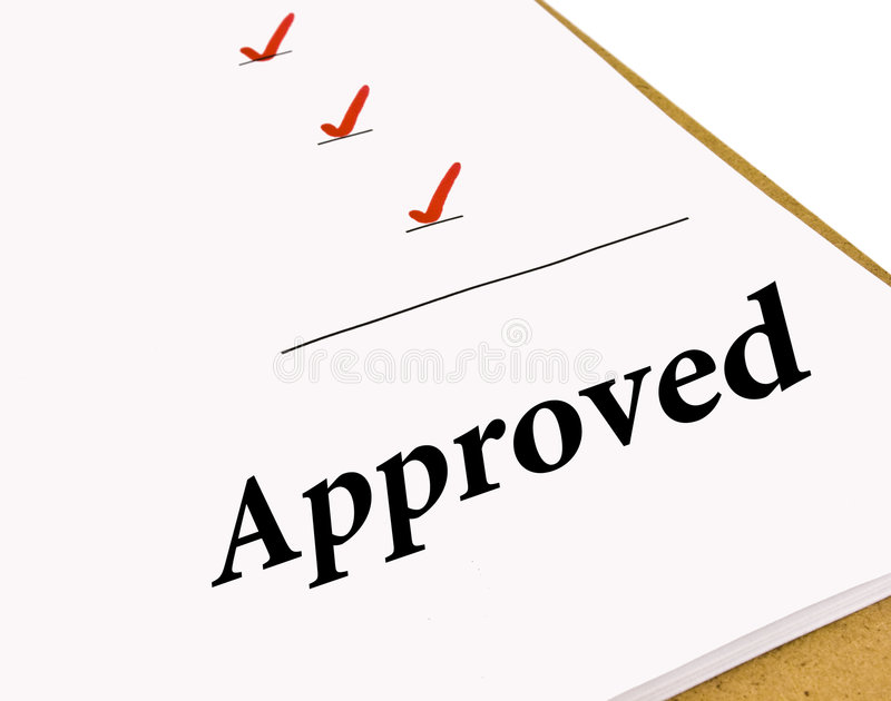 Approved Status Checklist stock images
