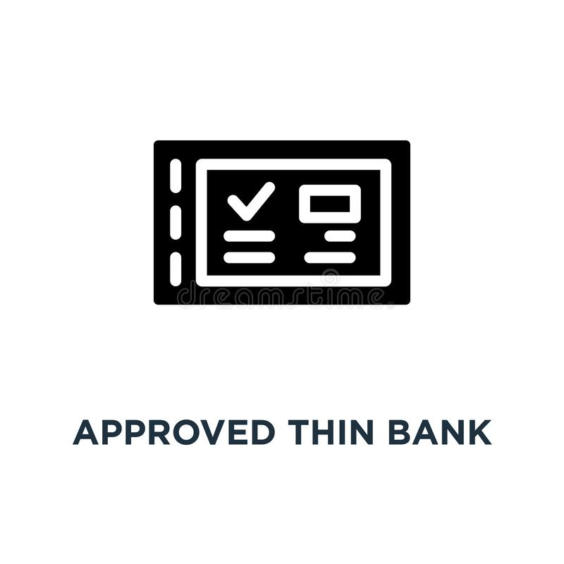 Approved thin bank check book icon, symbol of dollar salary from employer or customer paying bill and compensation concept linear. Style trend modern ecommerce royalty free illustration