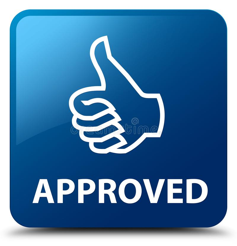 Approved Thumbs Up Icon Blue Square Button Stock Illustration