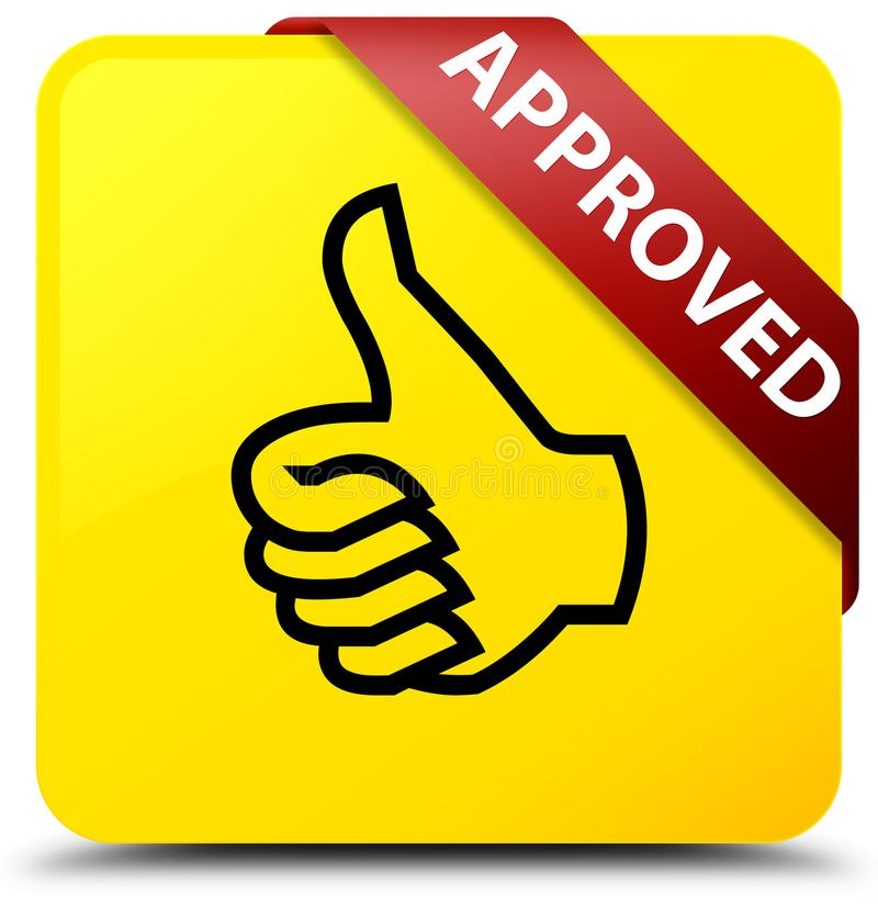 Approved Thumbs Up Icon Yellow Square Button Red Ribbon In Cor
