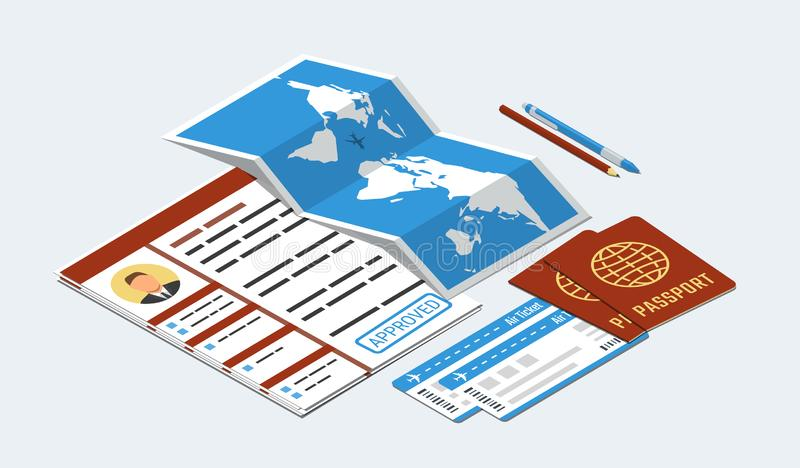 Approved visa form, passports, tickets, map, pen and pencil. Travel, immigration concept stock illustration