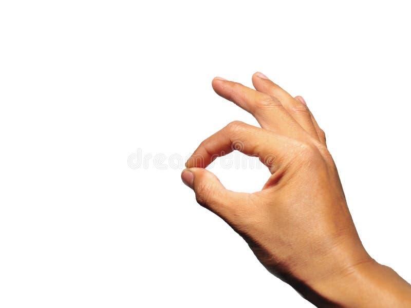 APPROVI il gesto di mano isolato su fondo bianco immagini stock libere da diritti