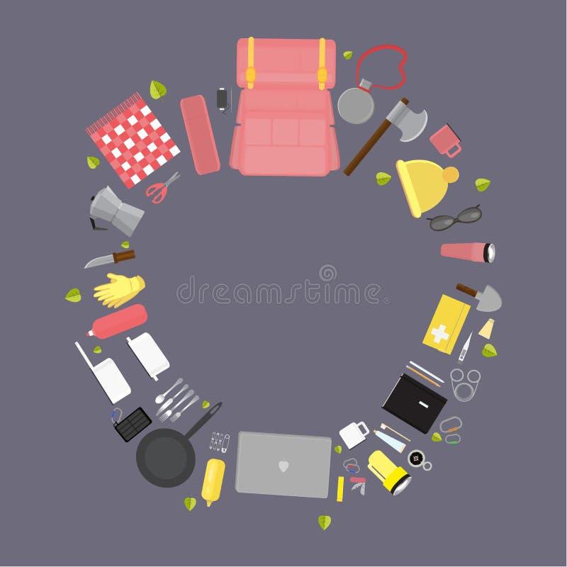 Approvisionnements campants, ensemble d'illustration de vecteur de substance de camping illustration de vecteur