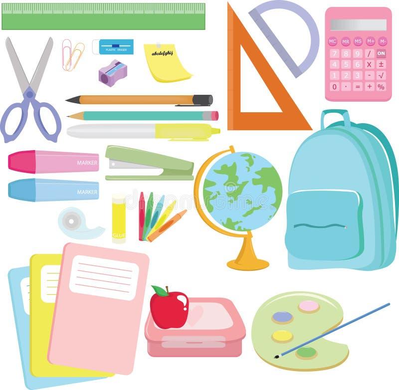 Approvisionnements d'école illustration libre de droits