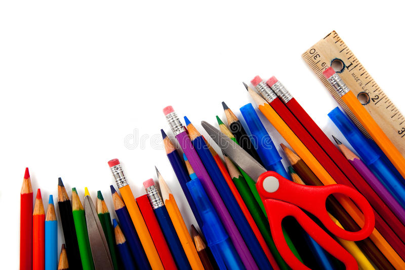 Approvisionnements d'école assortis sur le blanc images libres de droits