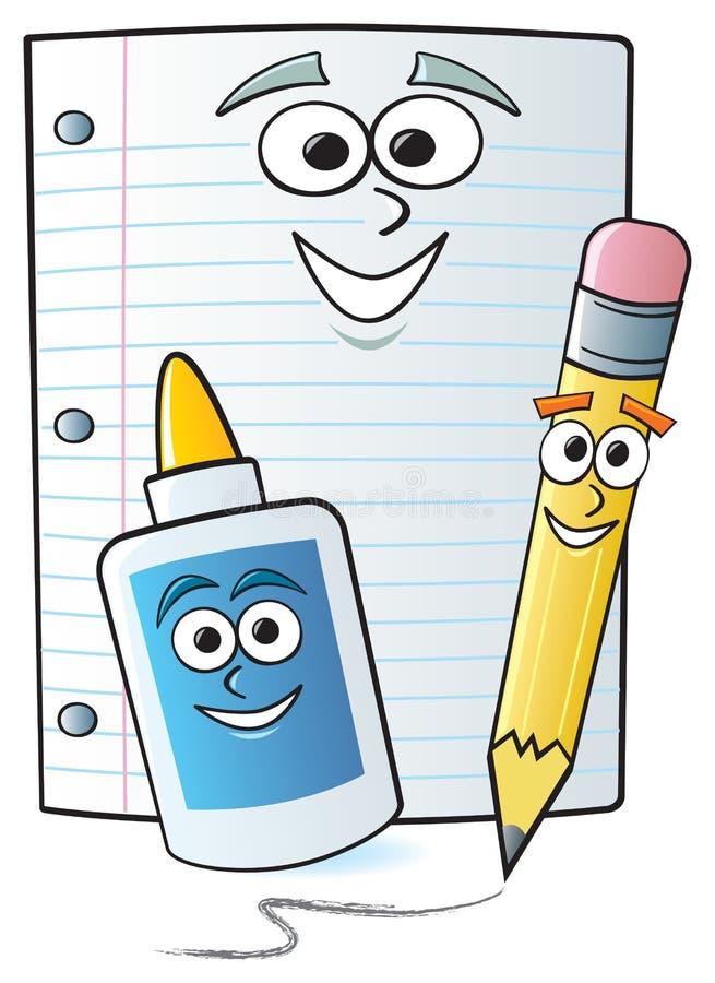 Approvisionnements d'école de dessin animé illustration stock