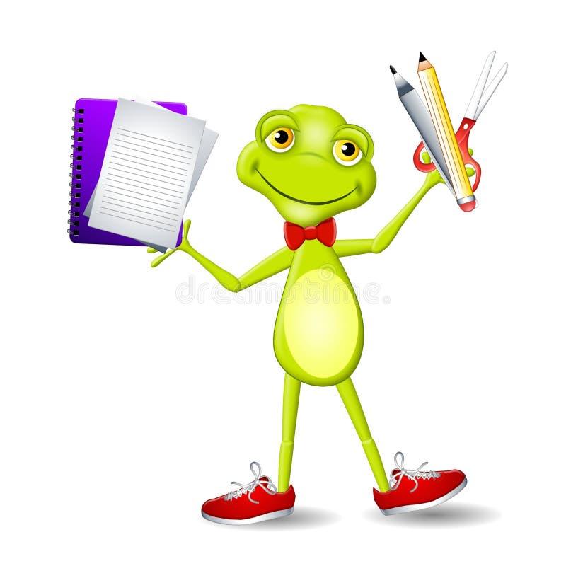 Approvisionnements d'école de fixation de grenouille illustration libre de droits