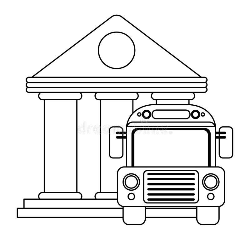 Approvisionnements d'école et d'éducation noirs et blancs illustration de vecteur
