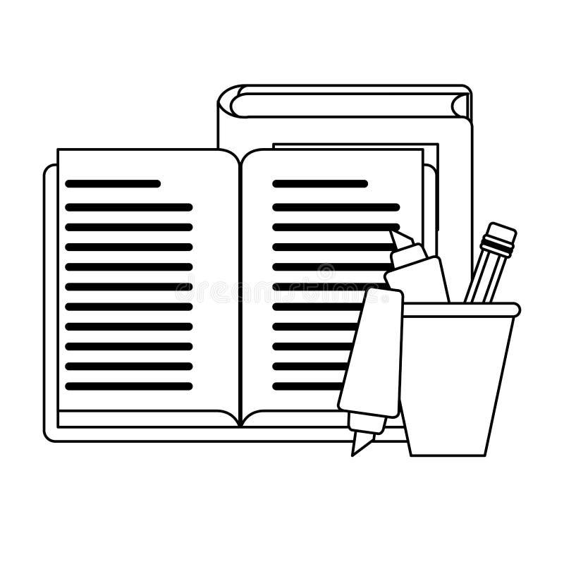 Approvisionnements d'école et d'éducation noirs et blancs illustration stock