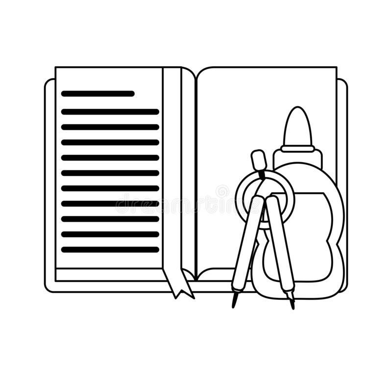 Approvisionnements d'école et d'éducation noirs et blancs illustration libre de droits