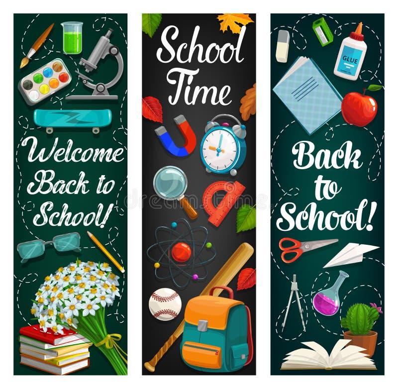 Approvisionnements d'étudiant, livre, crayon De nouveau ? l'?cole illustration libre de droits