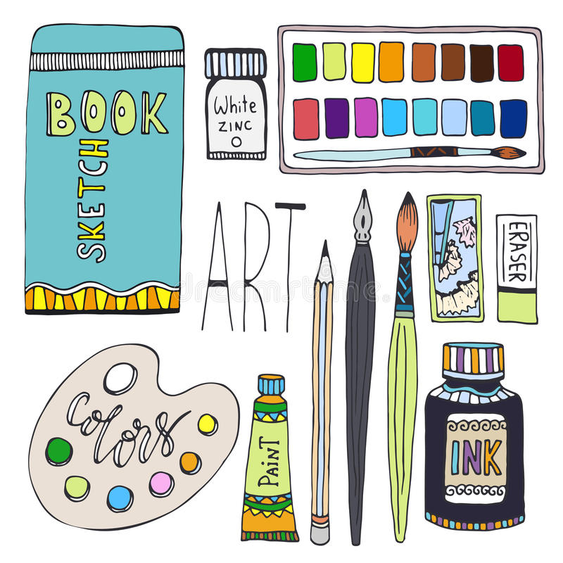 Approvisionnements d'art pour le dessin Le vecteur de bande dessinée a placé avec les peintures, la palette, le carnet à dessins  illustration de vecteur