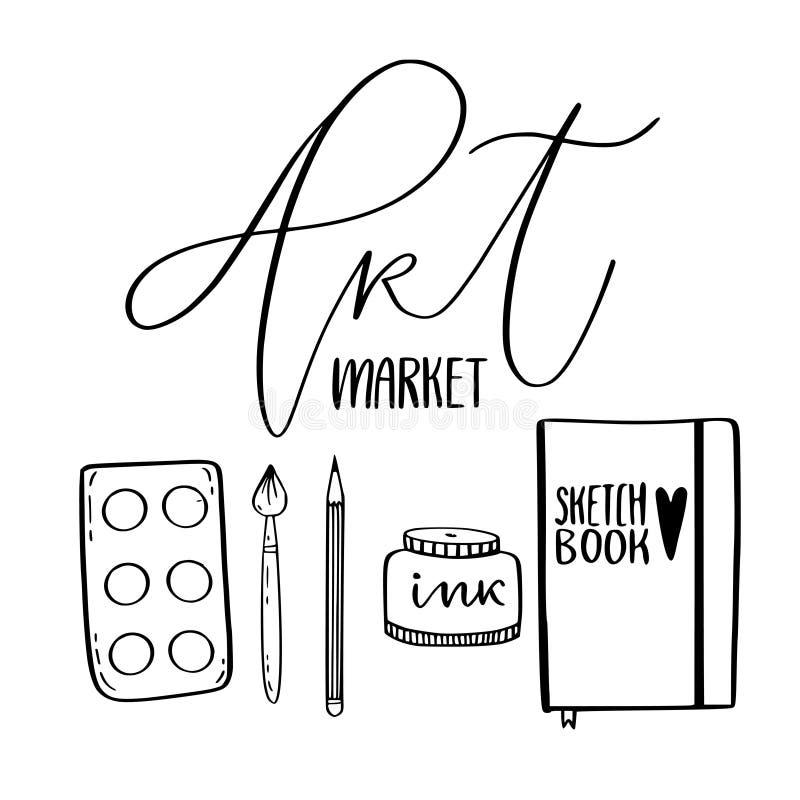 Approvisionnements d'art pour le dessin Les croquis dirigent avec la palette, le carnet à dessins et la brosse Concept du marché  illustration stock