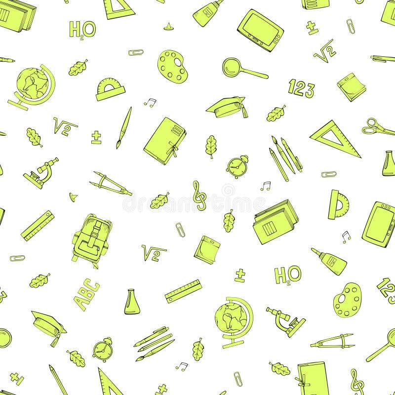 Approvisionnements d'?cole Dessin sans couture de main Illustration de vecteur illustration stock