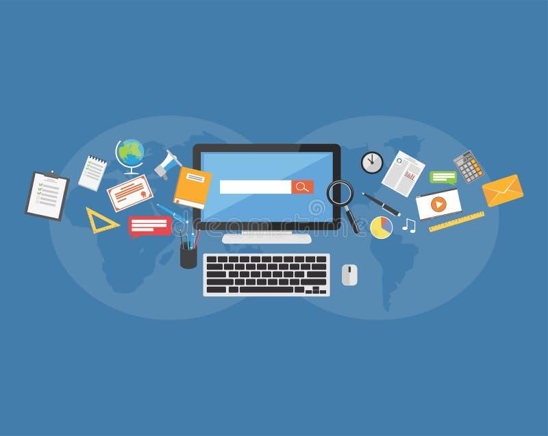 Approvisionnements d'université Apprentissage en ligne Partager la connaissance illustration de vecteur
