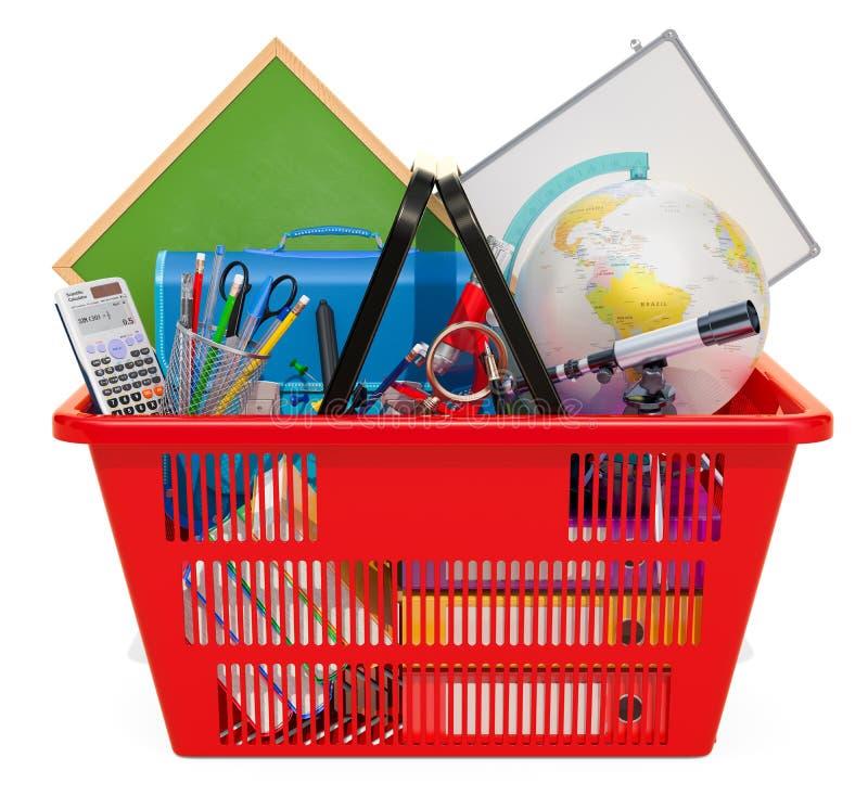 Approvisionnements dans le panier à provisions De nouveau au concept d'école renderin 3D illustration stock