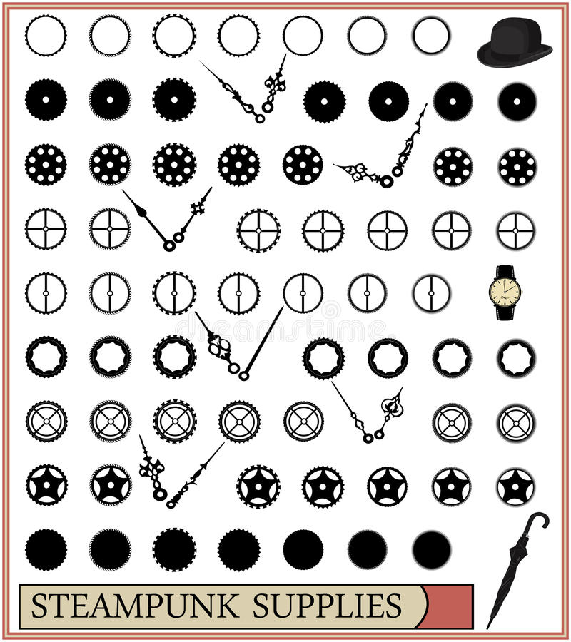 Approvisionnements de Steampunk, totalement editable illustration stock