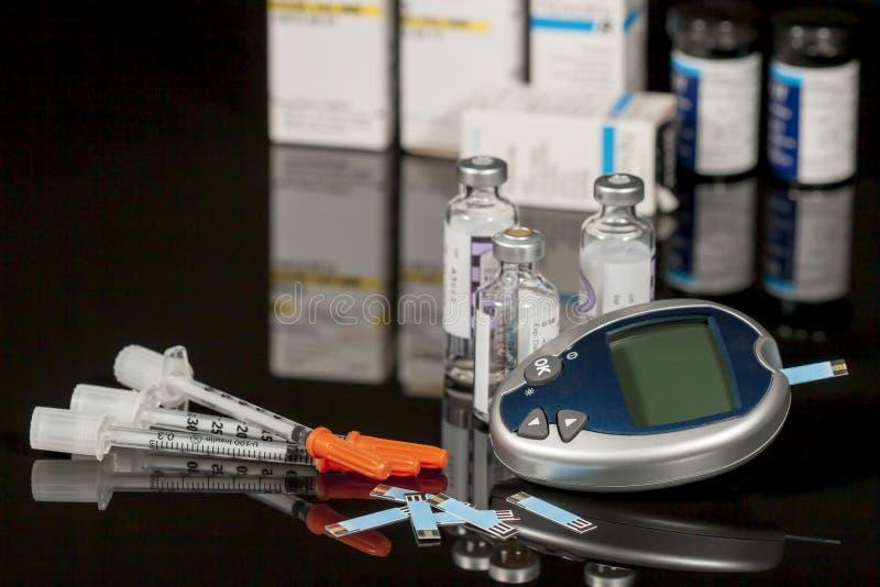 Approvisionnements diabétiques photo stock