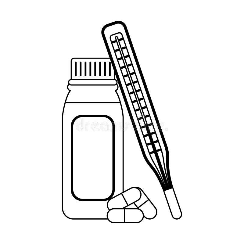 Approvisionnements médicaux de soins de santé en noir et blanc illustration de vecteur