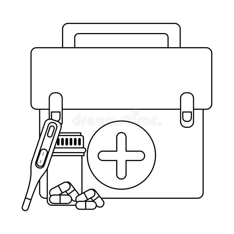 Approvisionnements médicaux de soins de santé en noir et blanc illustration stock