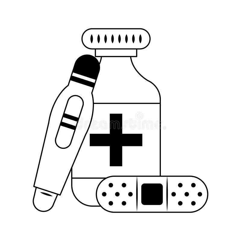 Approvisionnements m?dicaux de soins de sant? en noir et blanc illustration libre de droits