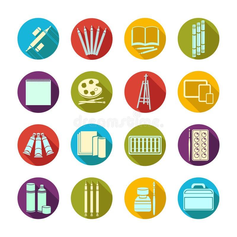 Approvisionnements plats réglés d'art d'icônes Matériaux multicolores d'art d'icône dans un cadre rond avec l'ombre biseautée Mar illustration libre de droits