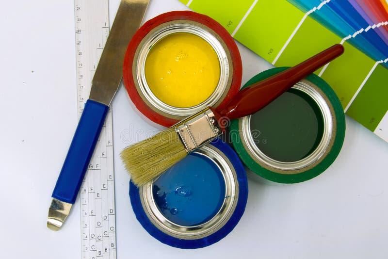 Approvisionnements pour la peinture image stock