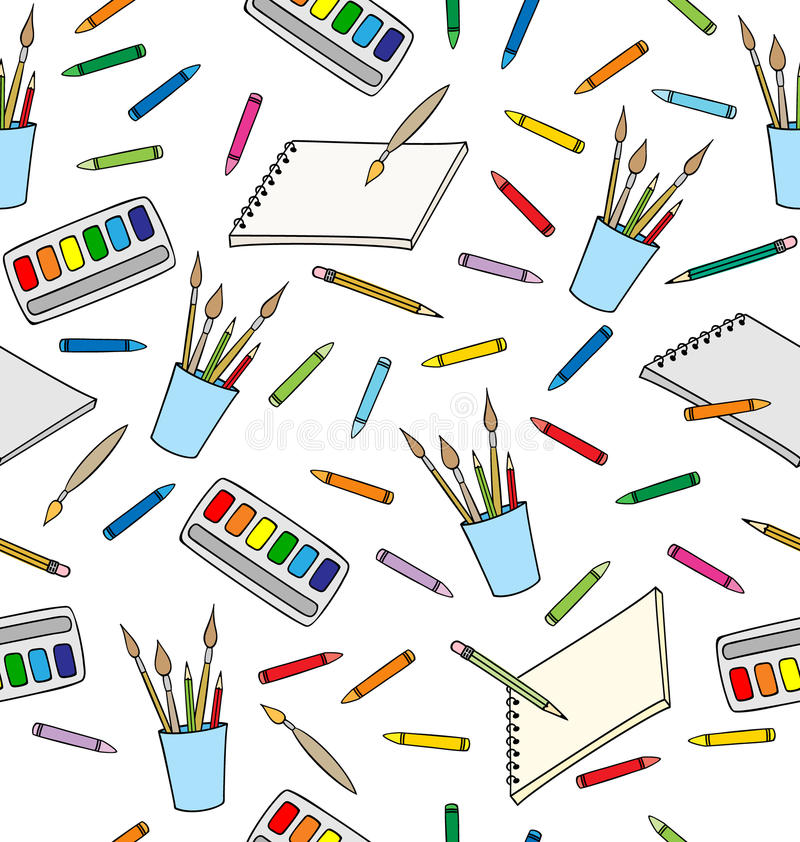 Approvisionnements pour le dessin Configuration sans joint illustration stock